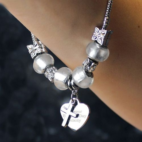 Personalised Cross Charm Bracelet - Ice White - 21cm